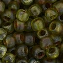 Toho 6/0 Rocailles HYBRID Transparent Frosted Lime Green...